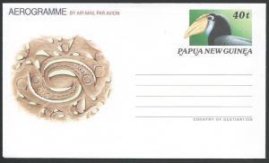 PAPUA NEW GUINEA 40t Hornbill,  Bird aerogramme fine unused................10899