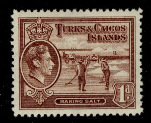 TURKS AND CAICOS ISLANDS GVI SG196, 1d red-brown, LH MINT.