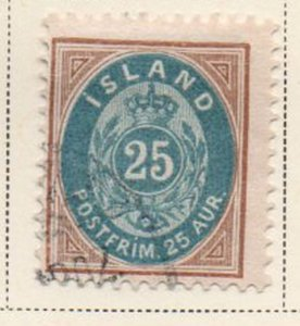 Iceland Sc 28 1900 25 aur yellow brown & blue arms stamp used
