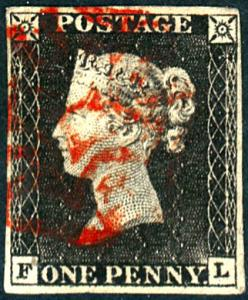 Great Britain Penny Black FL Four Margins, Red Cancel