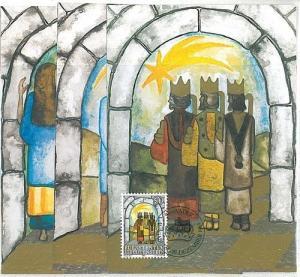 RELIGION XMAS : 3 MAXIMUM CARD - LIECHTENSTEIN 1984