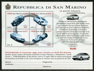 SAN  MARINO AUDI AUTOMOBILE  SHEET OF FOUR  MINT NEVER HINGED