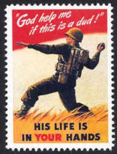 Patriotic WW2 Poster Stamp - God Help Me If Dud - Cinderella