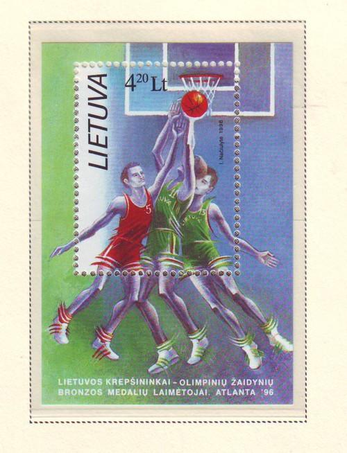 Lithuania Sc 557 1996 Olympics Basketball Medal stamp she...