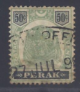 Malaya (Perak) # 56 Used Fine - 1899 50c Tiger