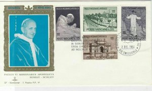 Vatican 1964 Celeb Pope Paul Vl Apostolic Missionary Stamps FDC Cover Ref 29491