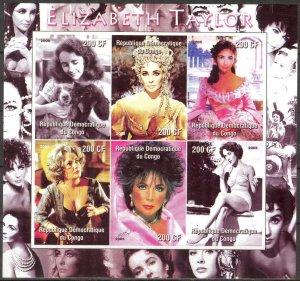 Congo 2005 Cinema Elizabeth Taylor Sheet of 6 Imperf. MNH Cinderella !