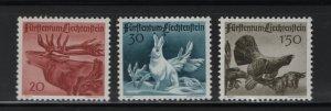 LIECHTENSTEIN 219-221 (3) Set, MNH, 1946 Animals