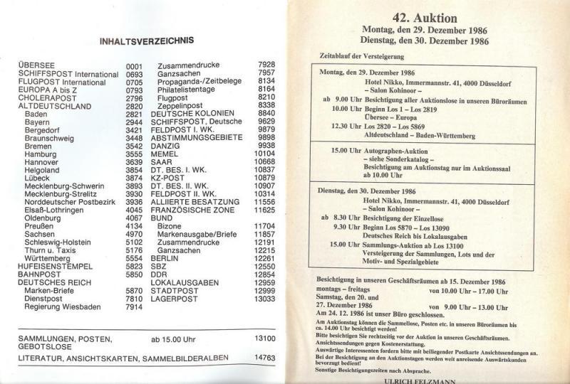 Felzmann: Sale # 42  -  Auktion NR.42, Ulrich Felzmann Sa...