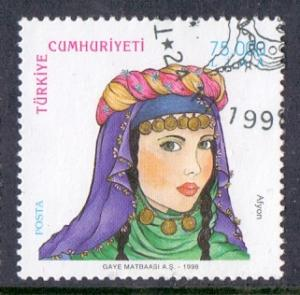 Turkey 1998 used traditional women`s hairdresses Afyon 75000l. #