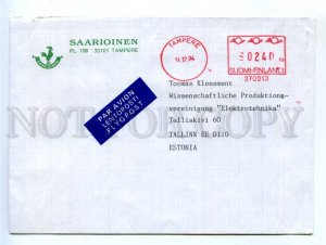 414509 FINLAND to ESTONIA 1994 year Tampere Postage meter real posted COVER