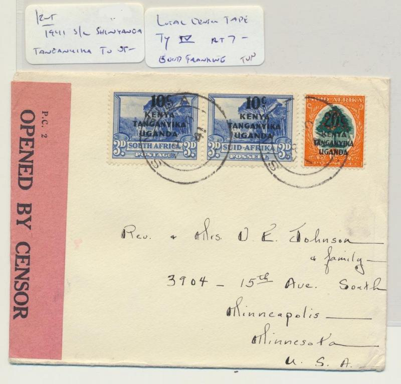 KUT (SHINGINDA) TO USA 1941 CENSOR (LOCAL) COVER, 40c GOOD FRANKING (SEE BELOW)