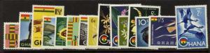Ghana 48-60, C1-2 MNH Birds, Fish, Flowers, Diamond, Timber