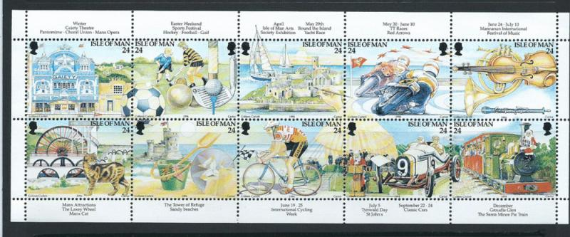 Isle of Man MUH SG 590 - 599     se-tenant block of  10  ...