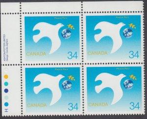Canada - #1110 International Year of Peace Plate Block - MNH