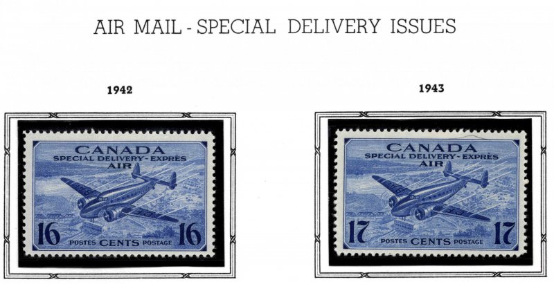 CANADA Scott CE1-CE2 MH* Airmail Special Delivery 1942-1943