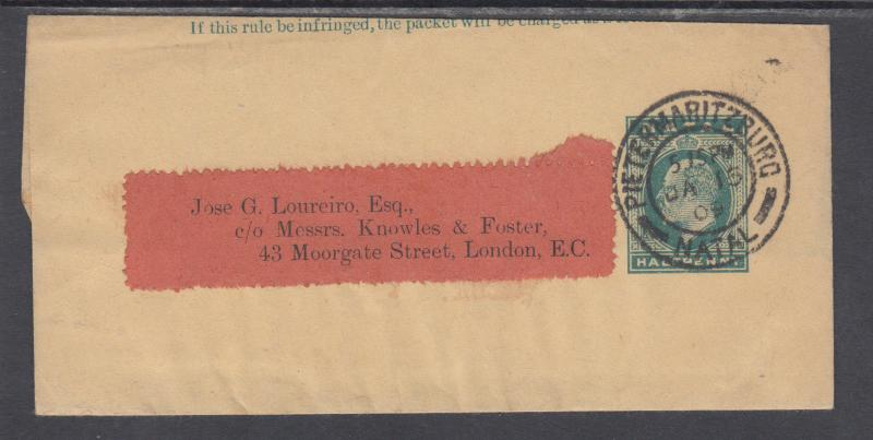 Natal H&G E3 used 1902 ½p KEVII Wrapper to London, England