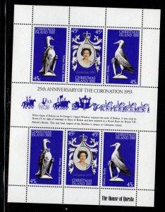 Christmas Island Sc 87 1978 25th Anniversary Coronation QE II stamp sheet NH