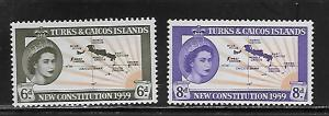 Turks & Caicos Islands 136-7 1959 New Constitution set NH