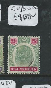 MALAYA NEGRI SEMBILAN (P0610B) 25C TIGER  SG 13  VFU