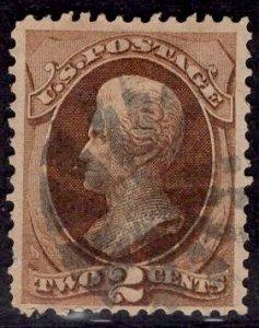 US Stamp #157 2c Brown Jackson USED SCV $22.50