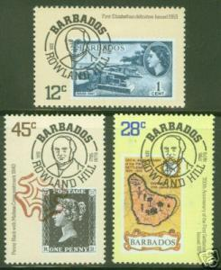 BARBADOS Scott 491-3 MNH** Sir Rowland Hill stamp set