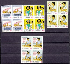 J27508 1987 st vincent imperf set blk/4 mnh #997-1000 children
