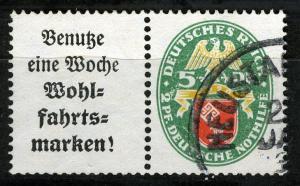 Zusammendrucke DR, Se-Tenant, 1929 Semi-Postal  Mi. W 35, VF ++ used