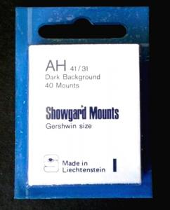 Showgard Stamp Mounts Size AH 41 / 31 BLACK Background Package of 40