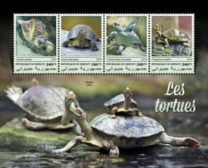 Djibouti - 2019 Turtles on Stamps - 4 Stamp Sheet - DJB190104a