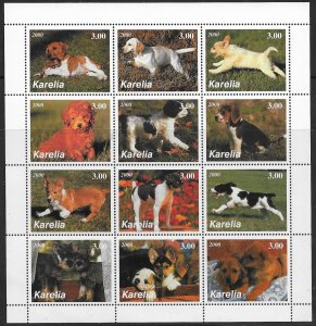 Karelia MNH S/S Fiesty Puppies 2000 12 Stamps