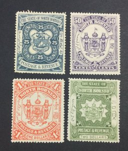 MOMEN: NORTH BORNEO SG #81-84 1894 1UNUSED(25c)/3 MINT OG H £103 LOT #6957