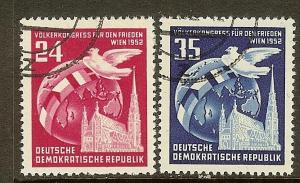 Germany DDR, Scott#'s 118-119, Globe, Dove & Cathedral, Used