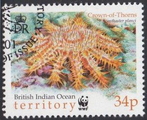 BIOT 2001 used Sc #233 34p Crown-of-thorns Starfish WWF