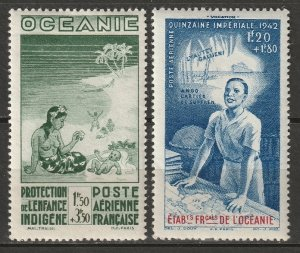French Polynesia 1942 Sc CB2,CB4 air post MH*