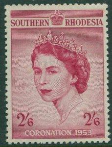 Southern Rhodesia 1953 SG77 2/6d red Coronation QEII MNH