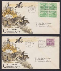 US Planty 728-5, 729-5, FDCs. 1933 Century of Progress, Matched Linprint Cachets