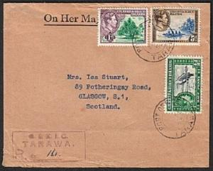 GILBERT & ELLICE IS 1953 Registered cover TARAWA to Scotland...............75647