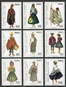 Peru C343-C348,hinged.Mi 872-874,907-909,936-938. Regional costumes, 1972-1973.