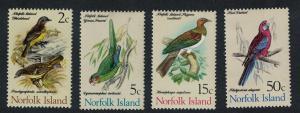 Norfolk Whistler Parakeet Pigeon Rosella Birds 4v issue Feb 1971 SG#104=116