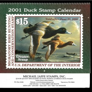 2001 DUCK STAMP CALENDAR - GREAT PICTURES & COLLECTIBLE, OR SAVE UNITL 2029!
