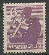 BERLIN, 1945, MNH 6pf Berlin Bear Scott 11N2