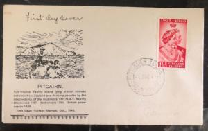 1949 Pitcairn Island First Day Cover FDC Cachet Silver Wedding QE2 Stamp