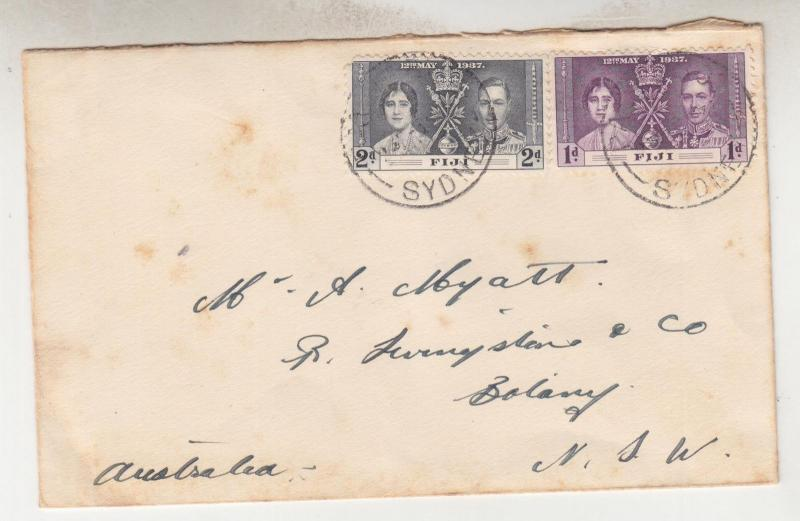 FIJI, 1937 cover, Coronation 1d. & 2d. canc. PAQUEBOT, SYDNEY to NSW.