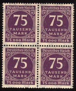 1923 Germany 75000Mk, MNH, Block of 4, Sc 240