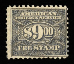 01809 U.S. Revenue Scott RK38 $9 Foreign Consular Service, perf. 11, SCV = $35