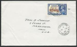 ST VINCENT 1935 cover to USA, Jubilee 2½d, Kingstown cds...................53120