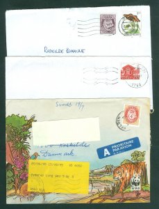 Norway. 3 Covers,Postal Used. 1987-93-94. Included WWF. Adr: Denmark.