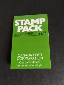 Canada USC #BK97a Cat. $11.00 Pane of Ten 37c Parliament in Cpl. Stamp Pack Bklt
