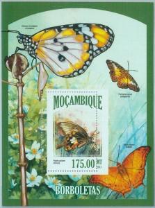 1460 - MOZAMBIQUE - ERROR, 2013 MISSPERF SHEET: Butterflies, Insects